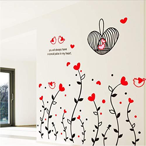 WOKLMUHYNB Moda DIY Corazón Rojo Amor Flor Vine Cage Pájaro Lindo Pegatinas De Pared Dormitorio Sala De Estar Sofá De Pared Decoración para El Hogar Extraíble Arte Calcomanía