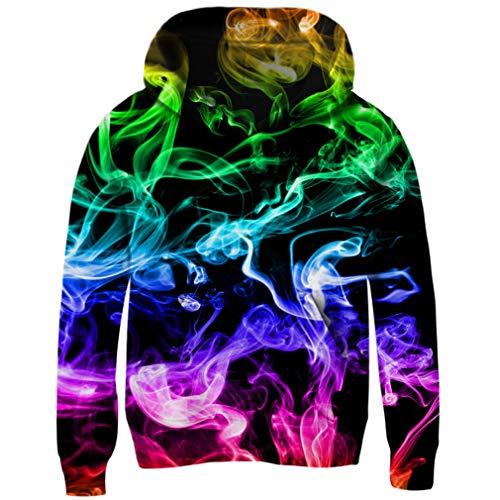 RAISEVERN Felpe con Cappuccio Unisex 3D Rainbow Irregular Patten Pullover con Cappuccio per Boy Girl Teen