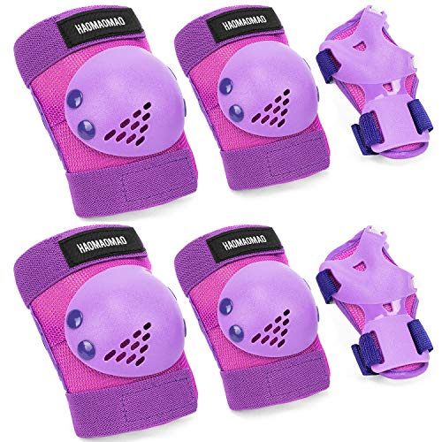 Haomaomao Knee Pads for Kids/Youth/Child, Knee Pad and Elbow Pads Wrist Guards Protective Gear Set for Roller Skates Cycling BMX Bike Skateboard Inline Skatings Scooter Riding (Purple, M(7-15 Year))