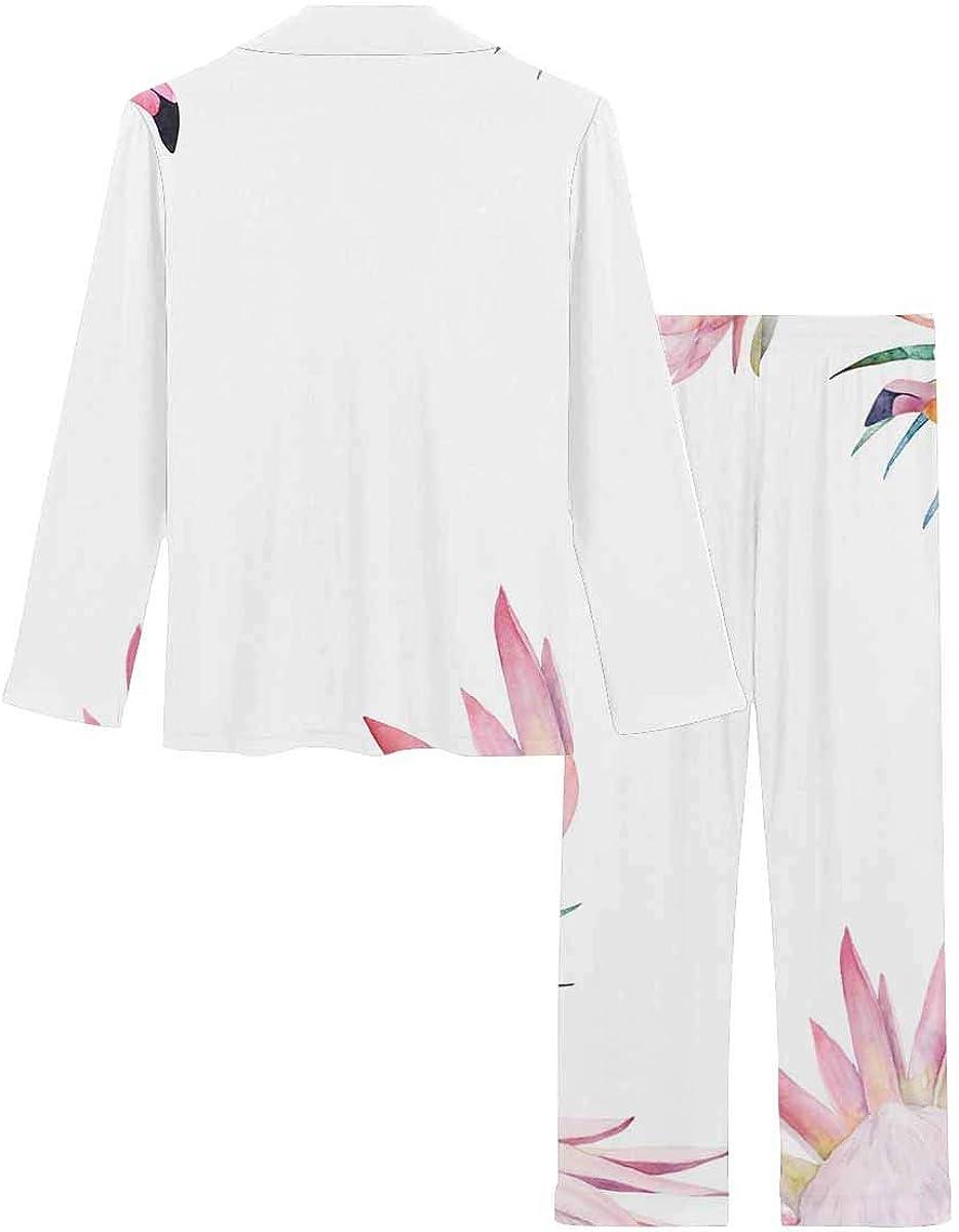InterestPrint Women's Pajamas Set Button Down Sleepwear with Long Pants Summer Colorful Frame