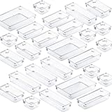 Fixwal 26pcs Clear Drawer Organizers Set 4 Size Drawer Tray Dividers Organizers Versatile Kitchen Utensil Bathroom Office Storage Divider Bin for Desk Makeup Dresser Vanity Cabinet
