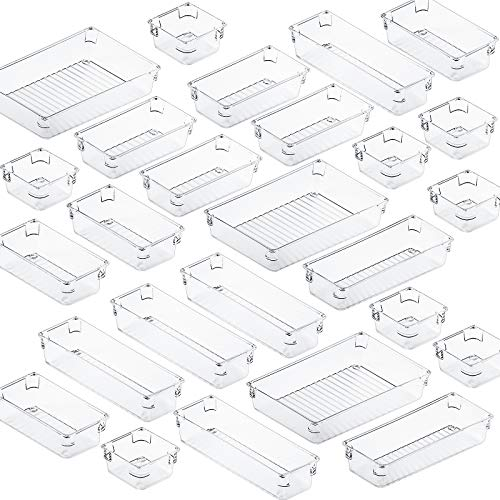 Fixwal Juego de 26 organizadores transparentes para cajones de 4 tamaños y bandejas, separadores versátiles, utensilios de cocina,...