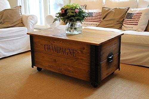 Uncle Joe´s Couchtisch XL Champagne Truhentisch Truhe im Vintage Shabby chic Style aus Massiv-Holz in braun mit Stauraum und Deckel Holzkiste Beistelltisch Landhaus Wohnzimmertisch Holztisch nussbaum - 2