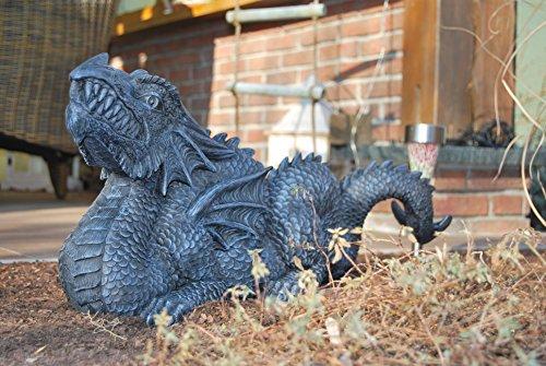 XL Edler Chinesicher Drache schwarz Drache Figur Gartenfigur 70 cm