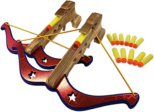 Adventure Awaits - 2-Pack Handmade Wood Toy Crossbow Set - 12 Suction Darts - for Outdoor Play