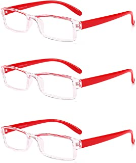 Aiweijia Unisex Fashion Reading Glasses 3 Pack Square frame Reading glasses