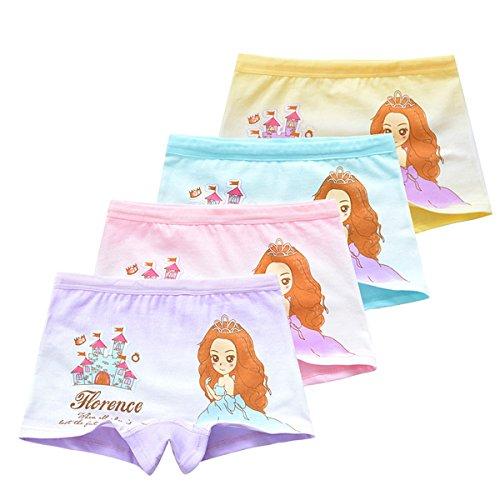 FAIRYRAIN 4 Packung Baby Kleinkind Mädchen Beauty Girl Pantys Hipster Shorts Spitze Baumwollunterhosen Unterwäsche 4-6 Jahre