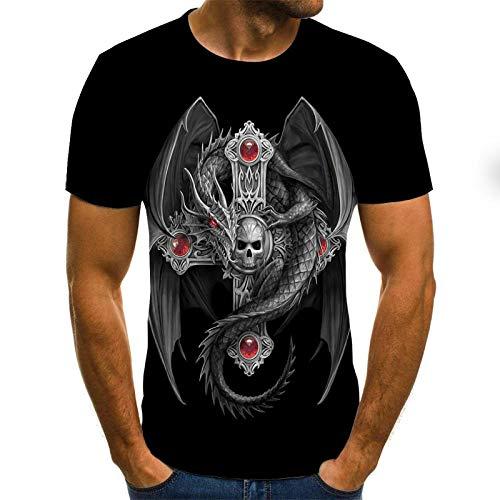 TJJS Verano Nuevas Camisetas de Calavera para Hombre Marca Punk Style 3D tee Hombres Tops Hip Hop 3D Print Punisher Style Punisher Camiseta dropshipping-3XL