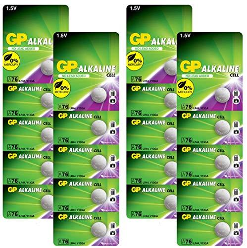 GP Extra LR44 Knopfzelle Alkaline, 20 Stück Batterien LR44 (AG13 / A76 / L1154f), 1,5V (Spannung 1,5 Volt) quecksilberfrei (Original Blisterverpackung, einzeln entnehmbar)