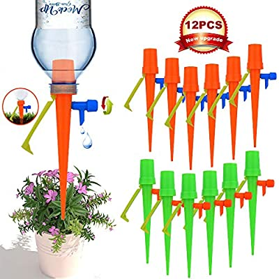 ?New Upgrade?Plant Self Watering Spikes,Universal Self Watering Devices With Slow Release Control Valve Switch Plant Spikes System Suitable for All Bottle, Automatic Vacation Drip Irrigation Watering by NEWWANDE