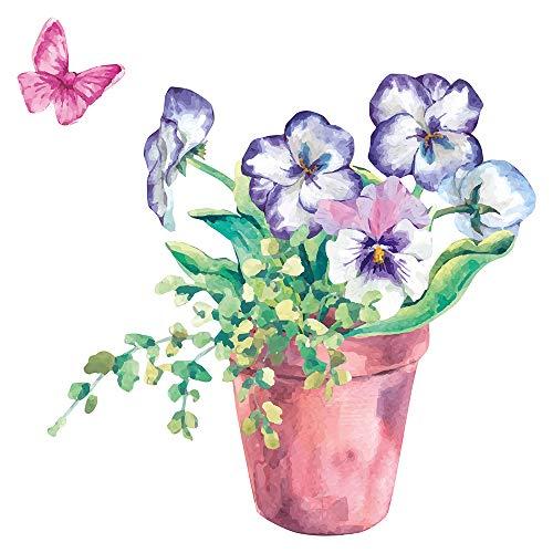 dekodino® Wandtattoo Blumen Aquarell Blumentop mit Schmetterlingen Wandsticker