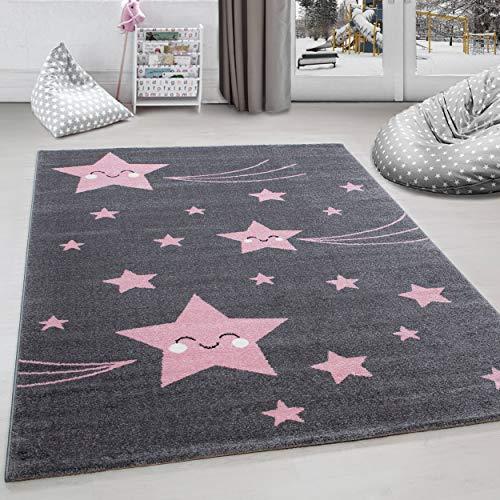 Kinderteppich Kinderzimmer Teppich Sterne Muster Grau-Pink - 120x170 cm