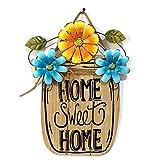 Cartello di benvenuto in legno fai da te per porta d'ingresso, decorazione floreale da appendere, targhette artigianali da appendere alla porta, ornamenti con corda, Blue, Blue 39 x 30cm/15.4' x 11.8'