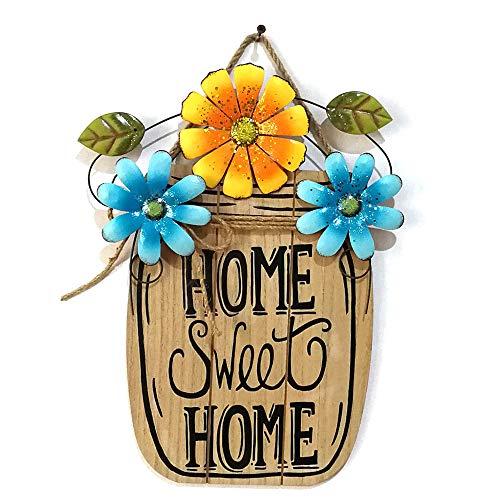 """Sureh - Targa da parete in legno con scritta """"Home Sweet Home"""", decorazione da appendere alla porta d'ingresso o in giardino, con motivo floreale, MDF+é""""皮花, A2, 15x12inch"""