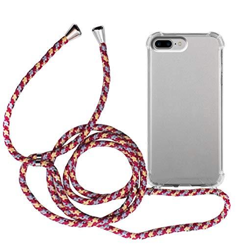 MyGadget Funda Transparente con Cordón para Apple iPhone 7 Plus / 8 Plus - Carcasa Cuerda y Esquinas Reforzadas en Silicona TPU - Case y Correa - Multicolor