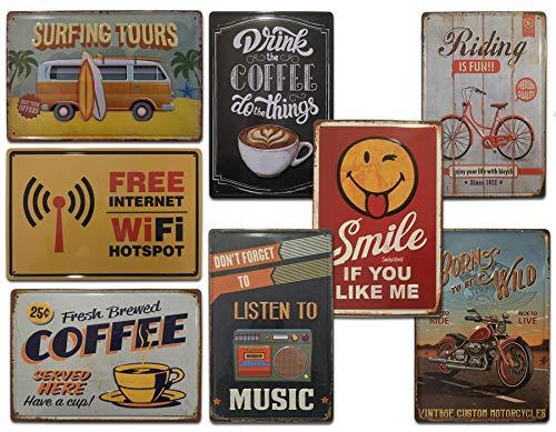 Placas Metálicas Vintage [ Bar, Cafetería, Restaurante, Cocina ] Pack de 8 Chapas Decorativas Retro con Relieve   Envío desde España   Medidas 20x30 cm