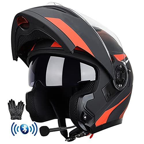 Bluetooth Integrado Casco de Moto Modular con Doble Anti Niebla Visera Cascos de Motocicleta ECE Homologado a Prueba de Viento Guantes Gratis para Hombres Mujeres 59-64CM