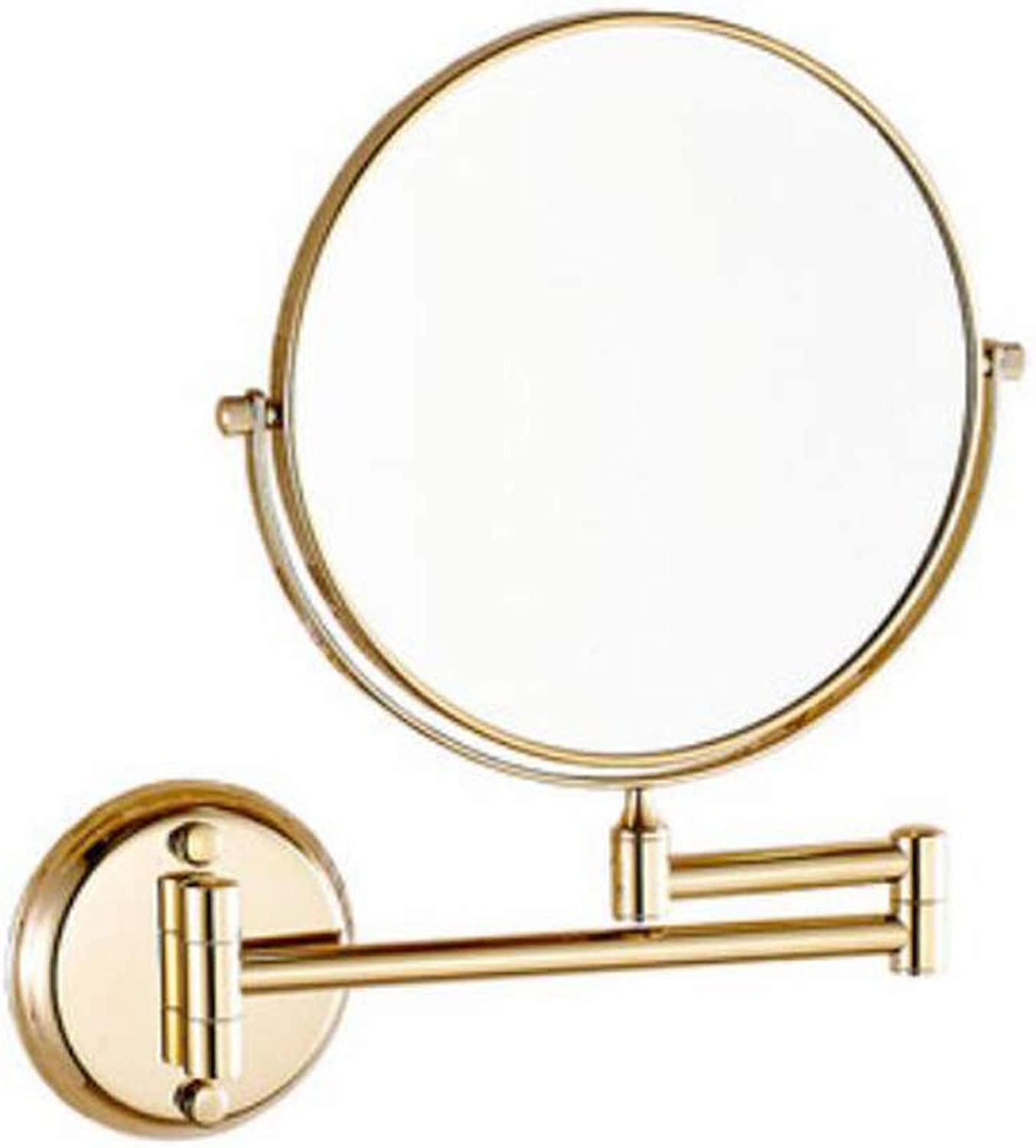 Bathroom Wall Hanging Folding Telescopic Double-Sided Magnification Makeup Mirror (Silver, gold) (color   gold)