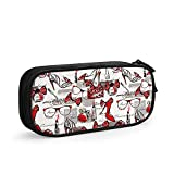 """Estuche Female High Heels Glasses Bags Red Lipstick And Perfumes, Bows Pencil Case - Pouch For Men - Pen Case With Zipper - Makeup Bag For School Work Office - 8.3""""X4"""""""