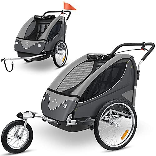 KESSER® Cruiser Kinderanhänger Fahrradanhänger 360° Drehbar mit Federung 2in1 Joggerfunktion Kinderfahrradanhänger + 5-Punkt Sicherheitsgurt , Jogger Fahrrad Anhänger für 1 bis 2 Kinder max. 40kg