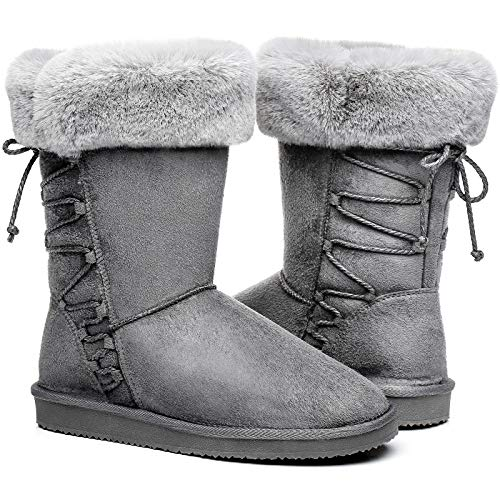 Women's Suede Winter Boots, Waterproof Warm Snow Boots for Women, Fuzzy Fur Mid-Calf Slip On Boots for Indoor Outdoor Christmas Grey Size 10