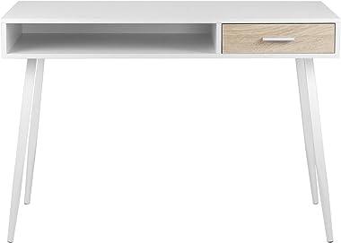 eSituro Table d'Ordinateur Table de Bureau en Bois avec 1 tiroir et et 1 Compartiment Ouvert,Design Scandinave,Chêne SCD0024
