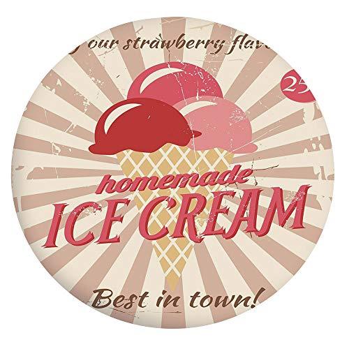Mantel de poliéster con bordes elásticos, estilo vintage con diseño de helado casero, ideal para mesas redondas de 40 a 111 cm, ideal para protección de mesa, color rojo coral crema