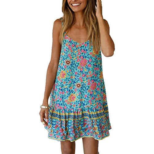 potente para casa Snyemio Ladies Summer Floral Print V-cuello Short Beach Casual Mini Tops