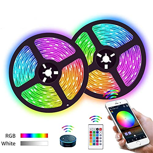 MINGRT Striscia LED Per Salotto, 5050 RGB WiFi LED Striscia Controllata App E Telecomando IR E Funzione Musicale Impermeabile Light Strip Per Sottopensile Casa Natale Salotto (Color : 5m)