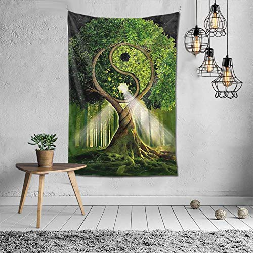 Yin Yang Tree Tapestry Wall Hanging Tapestry Home Decoration Door Curtain for Bedroom Living Room Outdoor 60 x 40 Inch (152 x 102 cm)