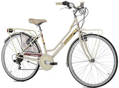 Cicli Cinzia Bicicletta 26' Citybike Kilt Donna 6/V Revo Shift V-Brake Alluminio, Crema