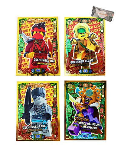★ Lego Ninjago Karten Trading Cards Serie 6 - Die Insel (2021) - LE17 + LE12 + LE9 + LE1 Gold Karten + stickermarkt24de Gum