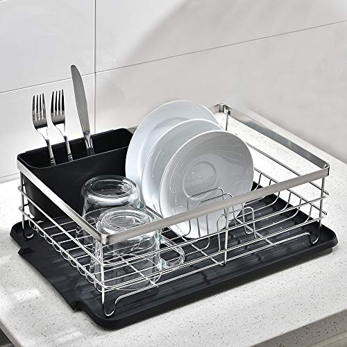 VCCUCINE Modern Kitchen Sturdy Stainless Steel Metal Wire 15.4' x 11' x 5.6' Dish Drying Rack, Chrome Dish Rack with Black Drainboard Cutlery Cup Utensil Organizer Holder