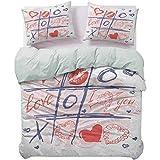 UNOSEKS LANZON Juego de cama XOXO juego con labios Sketchy Circles Corazones Romántico Amor Theme Funda de edredón hipoalergénica con cremallera oculta azul, rojo y blanco, tamaño Queen
