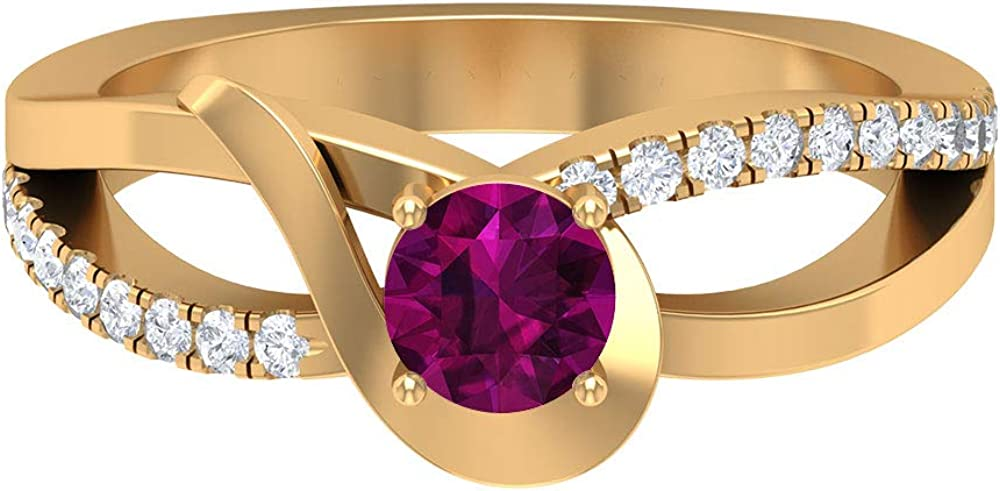 June Birthstone - 5.00 MM Solitaire San Diego Mall Atlanta Mall HI-SI Di Rhodolite with Ring