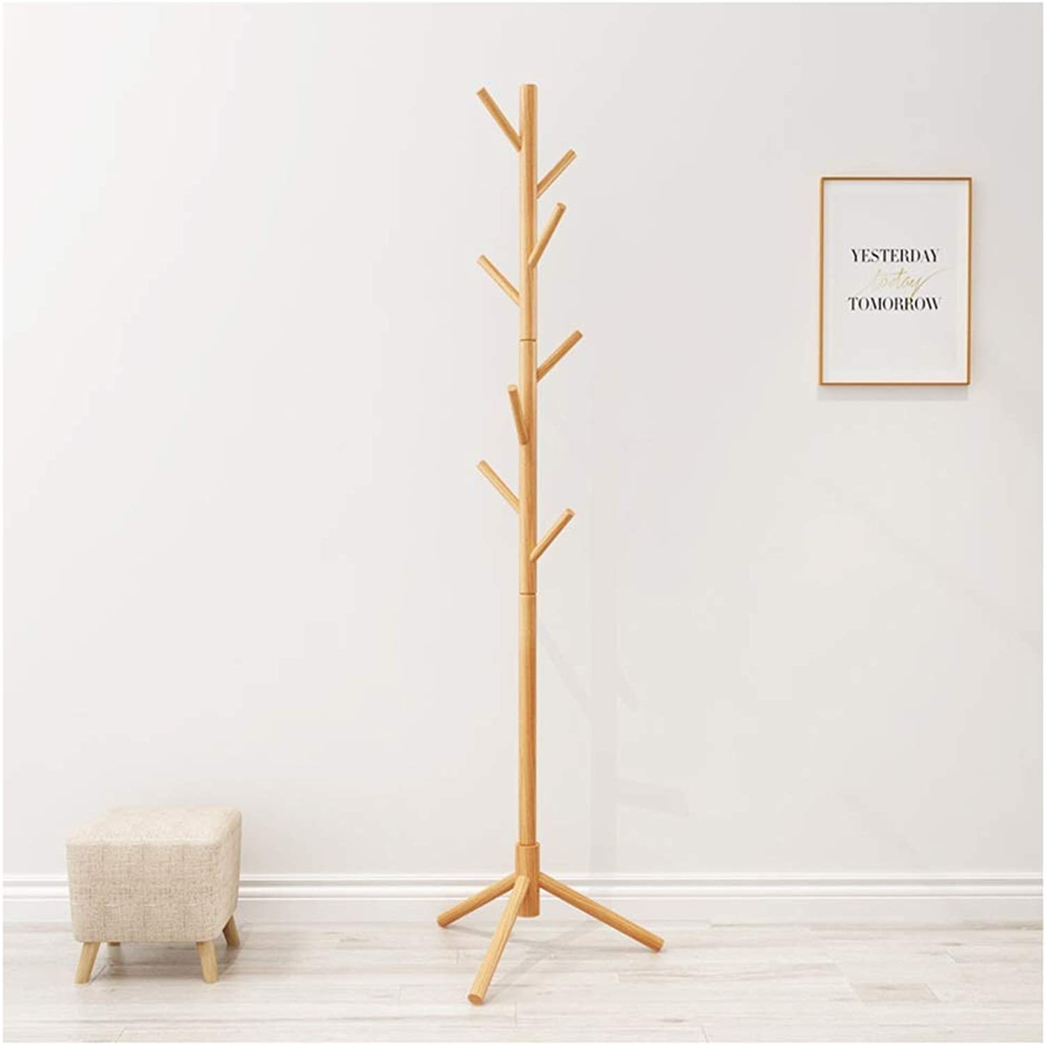 Angel's Home Standing Coat Rack Clothes in White Colour. for Hanging All Kinds of Clothes, Coats, Jackets, Scarves, Hats and More (color   Natural)