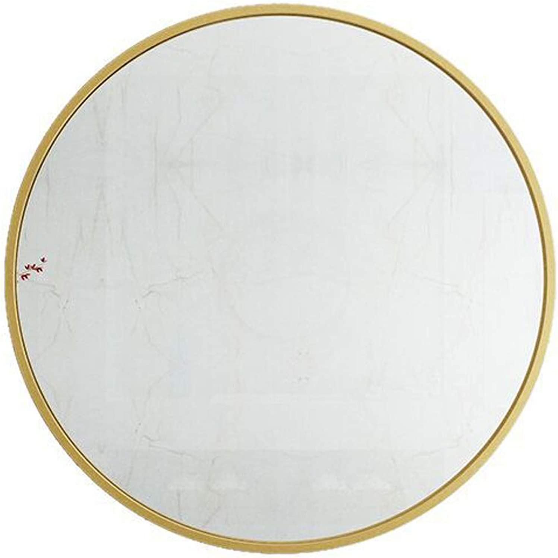 Round Nordic Wall Mirror Decorative Mirror Metal Frame Looking Glass Bathroom Mirror (color  golden, Size  40-80cm)