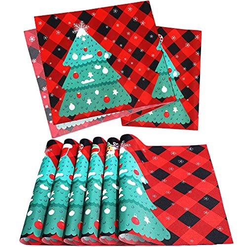 6 Manteles Individuales de Comedor de Navidad Salvamanteles a Cuadros de Búfalo de Árbol de Navidad y Corredor de Mesa de Navidad de 13 x 72 Pulgadas Camino de Mesa de Cuadros Negro y Rojo