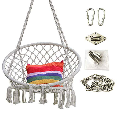 Hi Suyi Hanging Rope Hammock Lounger Chair Macrame Porch SwingWith Hooks Chain Ceiling Mount Set for Indoor Outdoor Home Bedroom Patio Yard Garden (Not Included Cushion or Pillow)