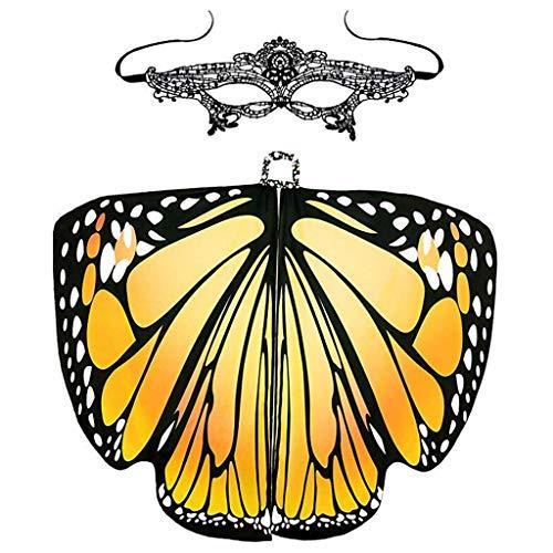 VEMOW Heißer Verkauf Damen Cosplay Party 168 * 135 CM Schmetterlingsflügel Schal Schals Damen Nymphe Pixie Poncho karneval Kostüm Zubehör(X4-Gelb, 168 * 135CM)