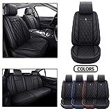 5 Car Seat Covers Full Set Waterproof Leather Universal for Honda CRV Civic Accord Odyssey HRV Fit Vezel Ridgeline Insight Hyundai Elantra Non-Slip Cushions Split Bench 40/60 (Full Set, Black)