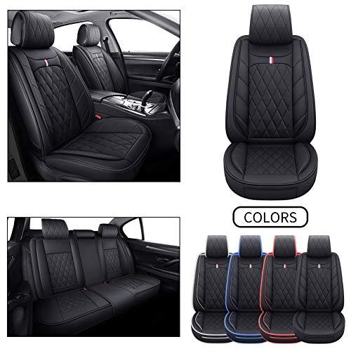 5 Car Seat Covers Full Set Waterproof Leather Universal for Honda CRV Civic Hybrid Accord Odyssey HRV Fit Vezel Ridgeline Clarity Insight Non-Slip Cushions Split Bench 40/60 (Full Set, Black)