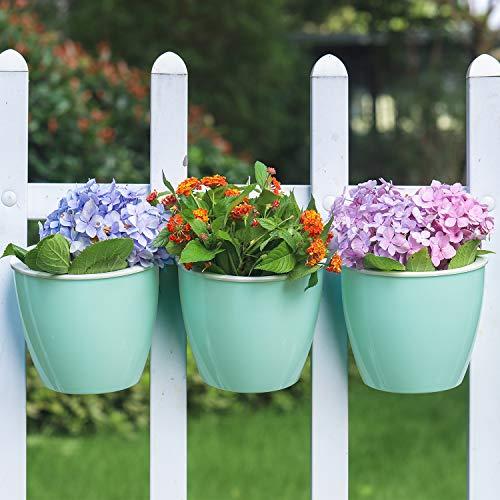 3 pots de fleurs à suspendre - Support mural - Réserve à eau pour arroser vos plantes - Idéal pour décorer votre maison ou votre bureau. 3 Piece Pack(Large:19.5cm*18.5cm) Color 3--Cyan
