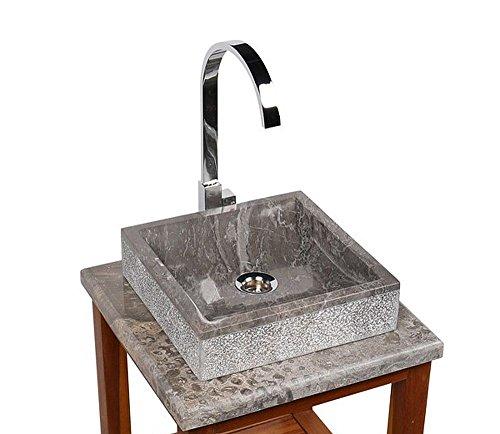 wohnfreuden Marmor Aufsatzwaschbecken Mini Perahu 30x30x8 cm ✓ grau eckig außen gehämmert innen poliert ✓ Handwaschbecken Steinwaschschale Naturstein-Aufsatzwaschbecken für Bad Gäste WC ✓