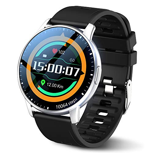 LEMFO Smartwatch Herren 1,3-Zoll-Touchscreen runde Smartwatch IP68 wasserdichte Sportuhr mit 54 Zifferblättern, 7 Tage Akkulaufzeit Smartwatch mit Schrittzähler, Herzfrequenzmesser für Ios/Android