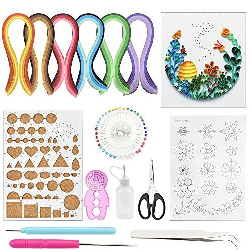 BUZIFU 15 STÜCKE Papier Quilling Kits mit 29 Farben 600 Streifen Quilling Papier DIY Design Zeichnung Handwerk Werkzeug, Papierbreite 5mm