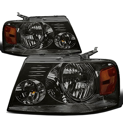 DNA Motoring HL-OH-F1504-SM-AM Smoke Lens Amber Headlights Replacement For 04-08 F150 Mark LT