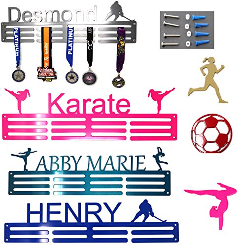 "SanDiegoMake Personalized Steel Medal Hanger 20"". Custom Text, Color and Images. Dance, Gymnastics, Running, Soccer, Pickleball, Karate, Baseball, Golf, Hockey, More!"