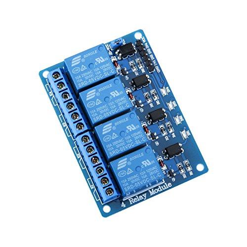ELEGOO Módulos de Relés de 4 Canales a DC 5V con Optoacoplador para Arduino UNO R3 MEGA 2560 Proyecto 1280 DSP ARM PIC AVR STM32 Raspberry Pi