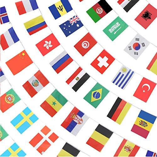 YuChiSX 100 Stücke Länder String Flag 25 Mt Internationale Welt Bar Party Banner Bunting 82ft International String für Olympia Grand Opening Flag World Cup Party Events Dekoratione Bars Clubs
